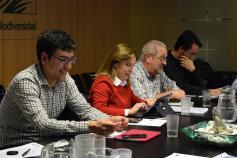 Alberto Moral (OAPN), Teresa Sánchez Corominas (Principado de Asturias), Víctor Vázquez (Principado de Asturias) y Jesús Varas (Gobierno de Cantabria) en el Comité de Gestión celebrado en la sede de la Fundación Biodiversidad