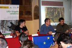 Javier Purroy (SEO/Birdlife), Luis Robles (Fundación Biodiversidad) y Óscar Prada (Foro de Asturias Sostenible)
