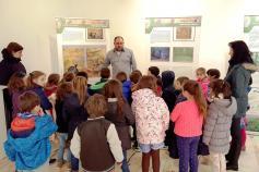 Visita de alumnos de primaria del colegio público El Pascón a la exposición del urogallo cantábrico en Tineo