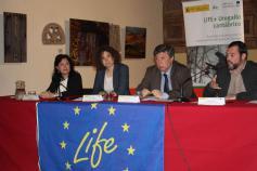 Carmen Recio, Sonia Castañeda, Javier Manrique y Rodrigo Gómez en el seminario informativo del proyecto LIFE+ Urogallo cantábrico